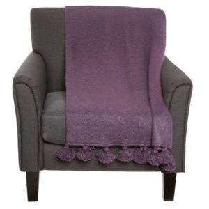 Cynthia Rowley Throw Blanket Eggplant Plum w/ Poms